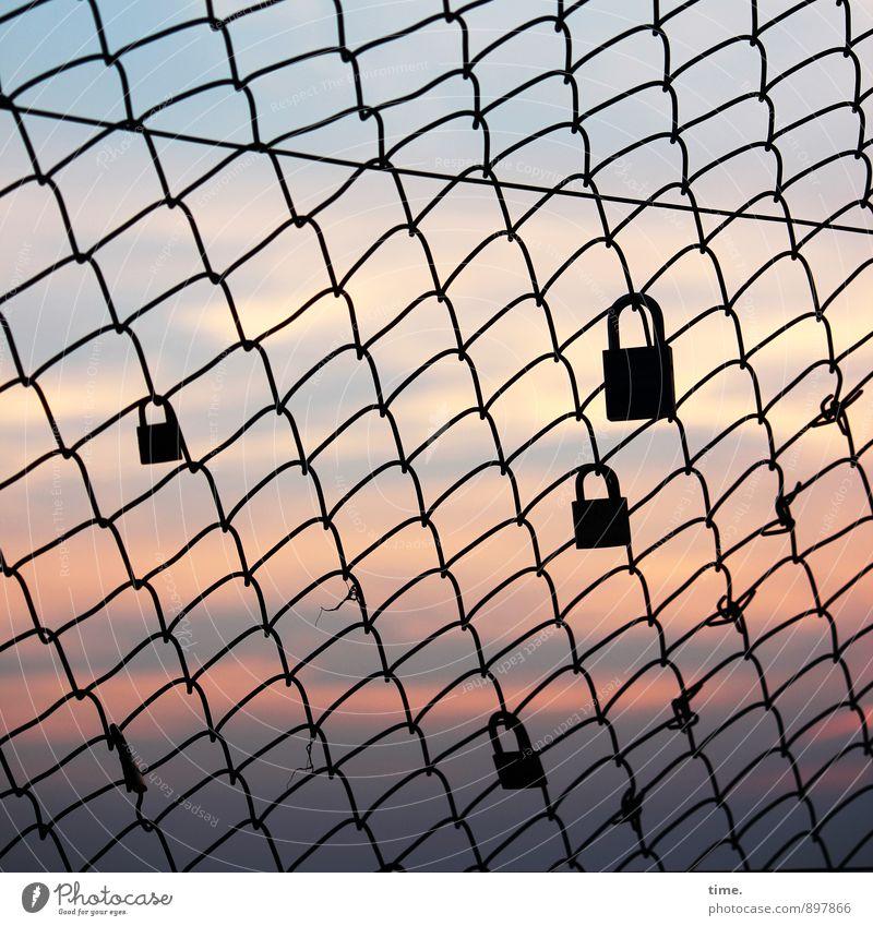 promises Sky Horizon Autumn Beautiful weather Kellenhusen Sea bridge Lock Fence Loop Wire netting Net Network Key Passion Friendship Together Love Infatuation