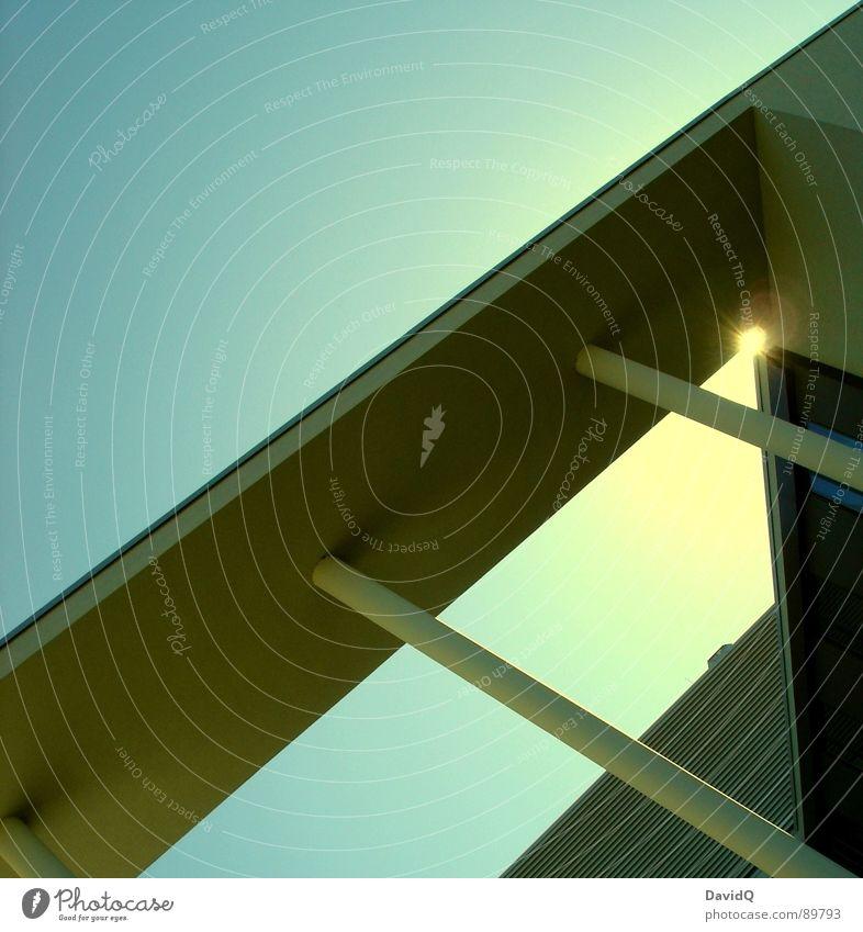 Sky Sun Blue Cold Line Architecture Concrete Modern Corner Column Sharp-edged Linearity Modern architecture