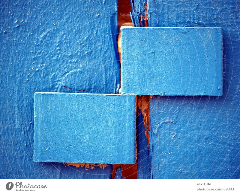 Blue wood Hoarding Fence Hinge Attachment Nut Cold Screening Dirty Rectangle Painting (action, work) Wiesbaden Hesse New building Traffic infrastructure