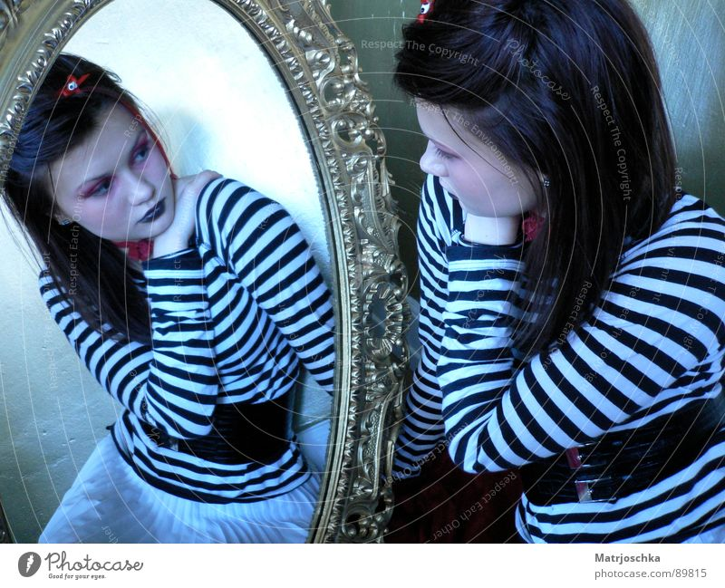 Mirror, mirror... Black & white photo Studio shot Reflection Style Feminine Life Hand 1 Human being 2 Stripe Think Gold Self-confident Trust Grief Distress Twin