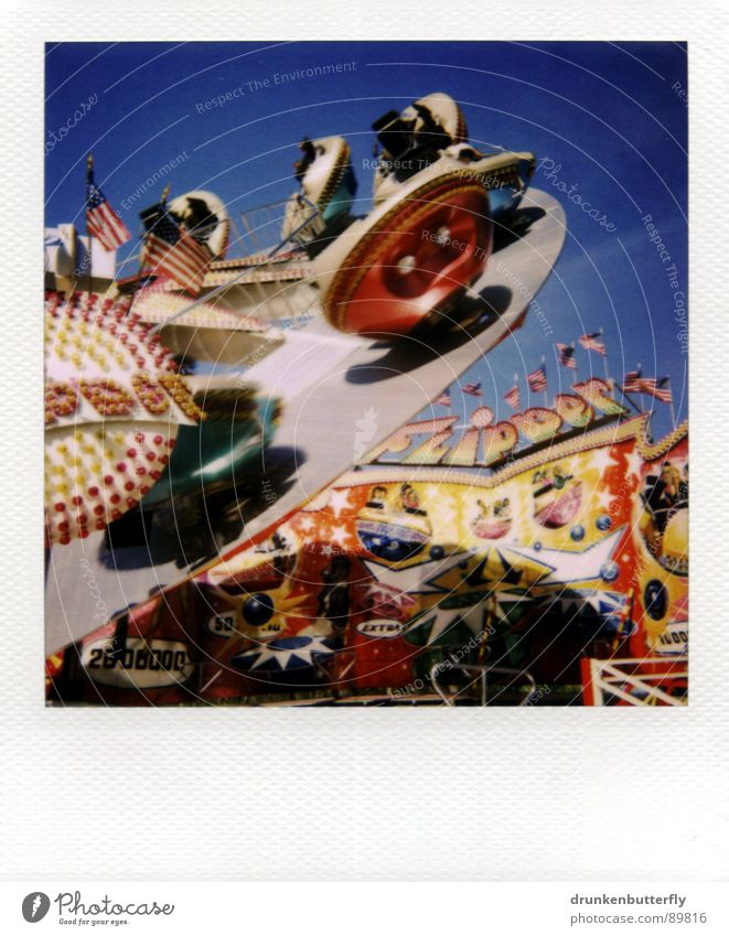 woooosh Fairs & Carnivals Carousel Rotate Giddy Circle Air Playing Sky Blue Polaroid Joy Flying