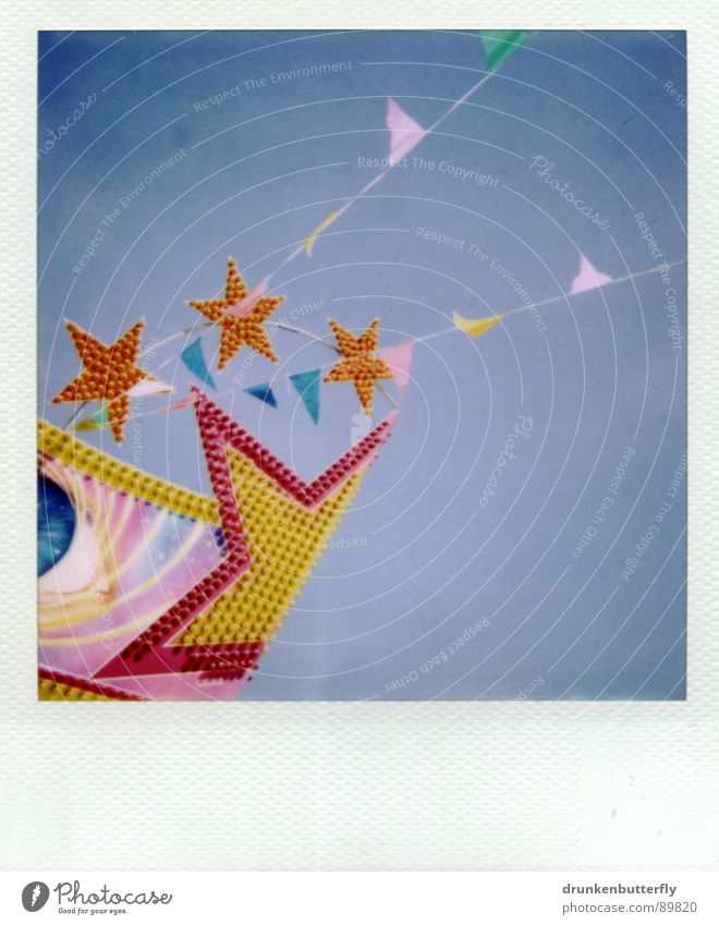 * Fairs & Carnivals Roof Flag Glittering Pink Yellow Lamp Playing Star (Symbol) Sky Flat (apartment) Blue
