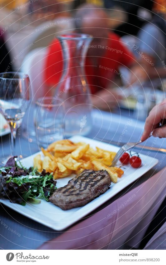 Steak&Pommes. Lifestyle Luxury Elegant Style Exotic Joy Esthetic Steakhouse French fries Unhealthy Delicious Calorie Rich in calories Meal Dish Food photograph