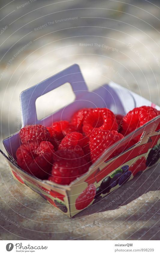 Fruit basket. Art Esthetic Contentment Raspberry Berries Red Healthy Healthy Eating Organic produce Ecological Many Vitamin Colour photo Subdued colour