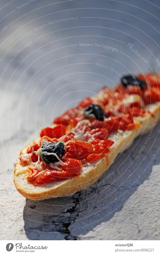 I liked it. Lifestyle Exotic Esthetic Delicious Appetite Tomato bruschetta Olive Mediterranean Food photograph Healthy Eating Baguette Sandwich shop Midday