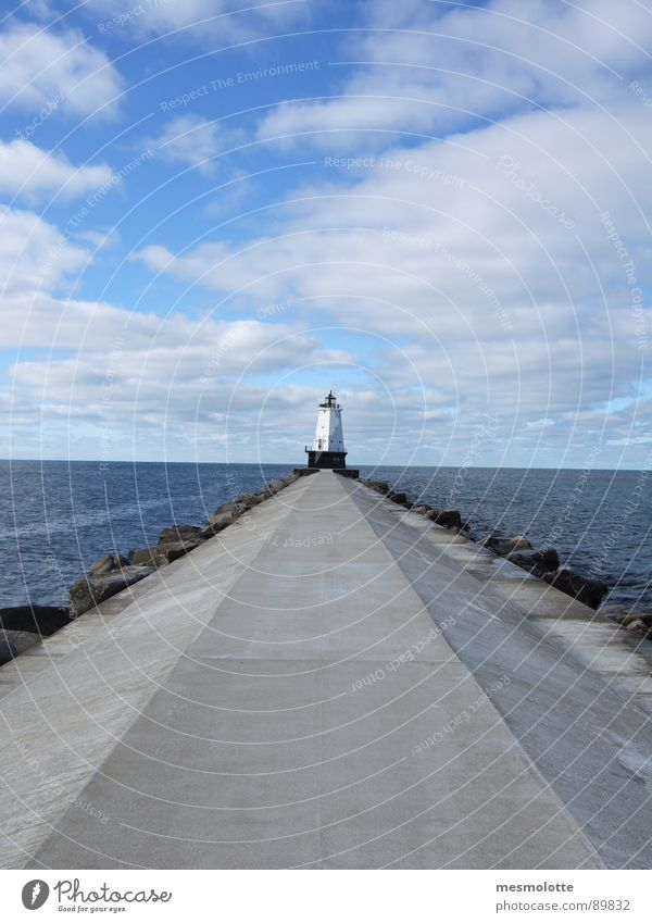 Lake Michigan Lighthouse Footbridge Horizon Clouds North America USA Great Lakes Far-off places