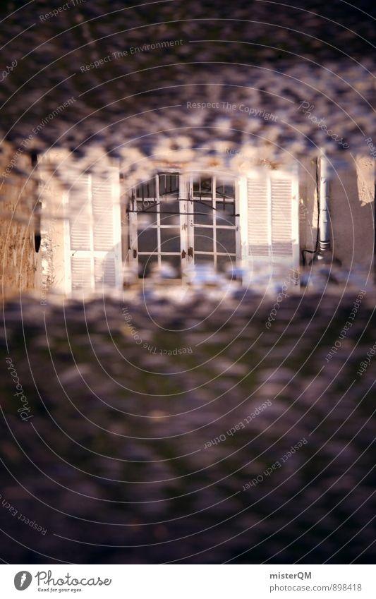 Window look. Art Work of art Esthetic Reflection Train window Shutter Window pane Window board View from a window Window frame Glazed facade Puddle Water