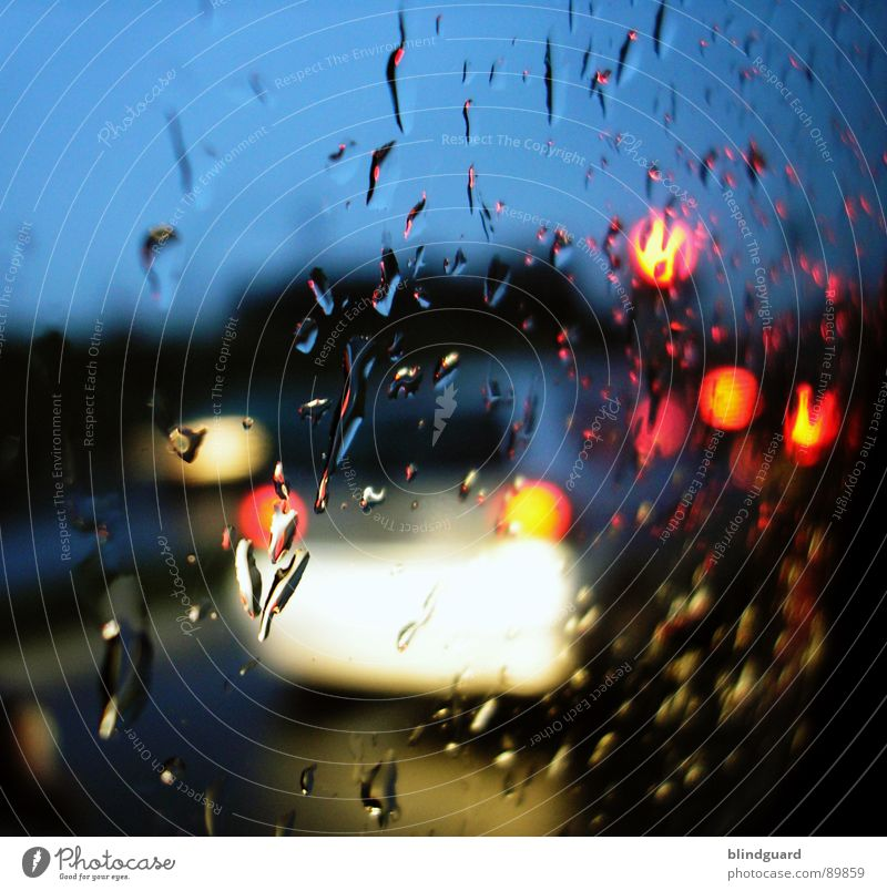 Rush Hour (a few meters further) Light Wet In transit Driving Traffic light Yellow Traffic jam Motor vehicle Closing time Car Rear light Blur Red Transport
