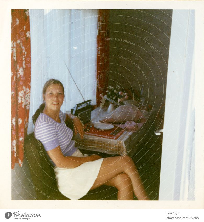 Back then Former Seventies Woman Vacation & Travel Summer Old 1970 sweet 19 youth young woman Sit holiday