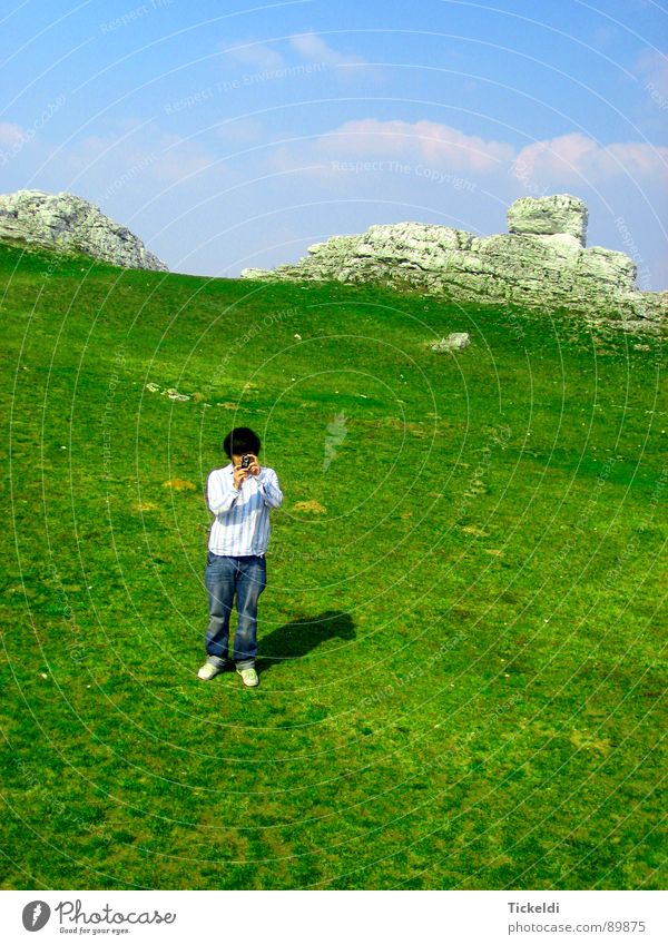motif Arrangement Meadow Green White Photographer Clouds Loneliness Exterior shot Boredom Rock Sky Blue Bright Freedom
