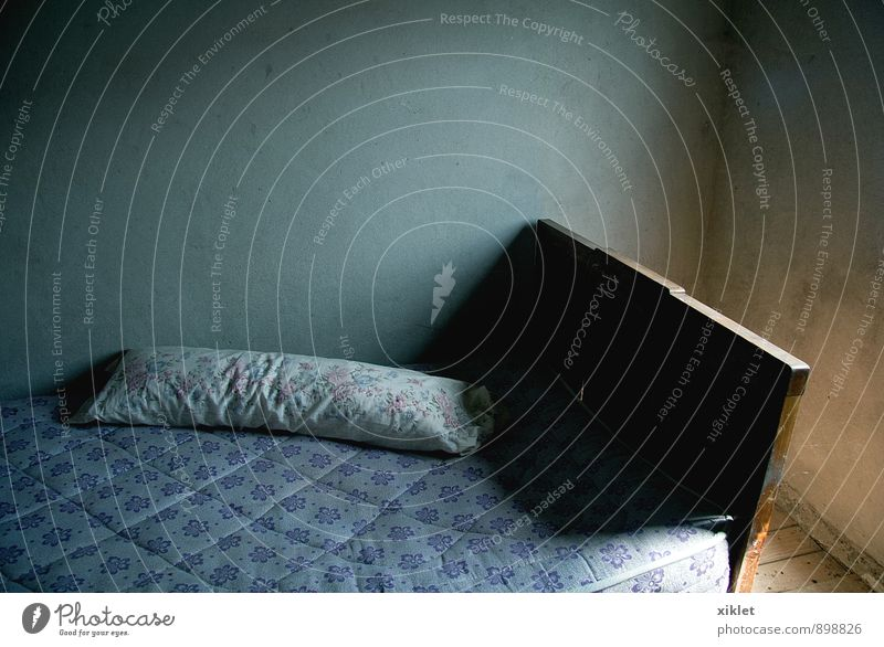 bed Old Colour White Sun Loneliness House (Residential Structure) Dark Cold Wall (building) Sadness Small Empty Sleep Bed Bedroom Cushion
