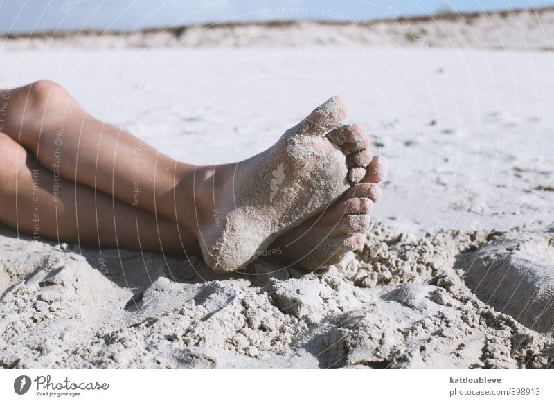 pieds Nature Earth Sand Summer Beautiful weather Coast Lakeside Beach Swimming & Bathing To enjoy Hang Lie Naked Joy Happiness Contentment Serene Calm