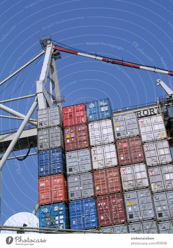 Container Love Watercraft Ocean Inner harbour Logistics Navigation Goods Trade Store premises Stock market Steel Transport Turnover Cargo-ship Industry Harbour