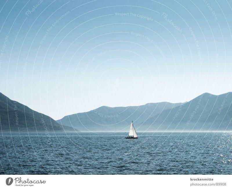 Water Blue Summer Vacation & Travel Calm Loneliness Relaxation Mountain Lake Watercraft Tourism Switzerland Sail Progress Sailing ship Mountain range