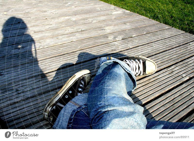 Sun Joy Black Meadow Grass Wood Jeans Broken Chucks