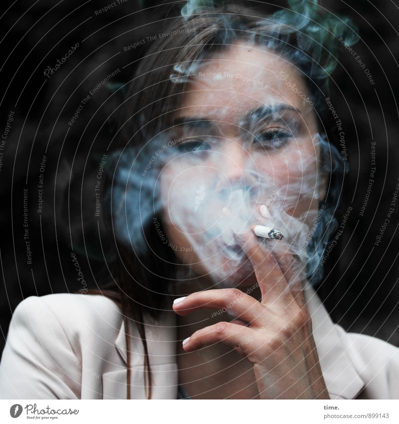 Yuliya Feminine Young woman Youth (Young adults) 1 Human being Jacket Cigarette Brunette Long-haired Observe To hold on Smoking Wait Cool (slang) Brave