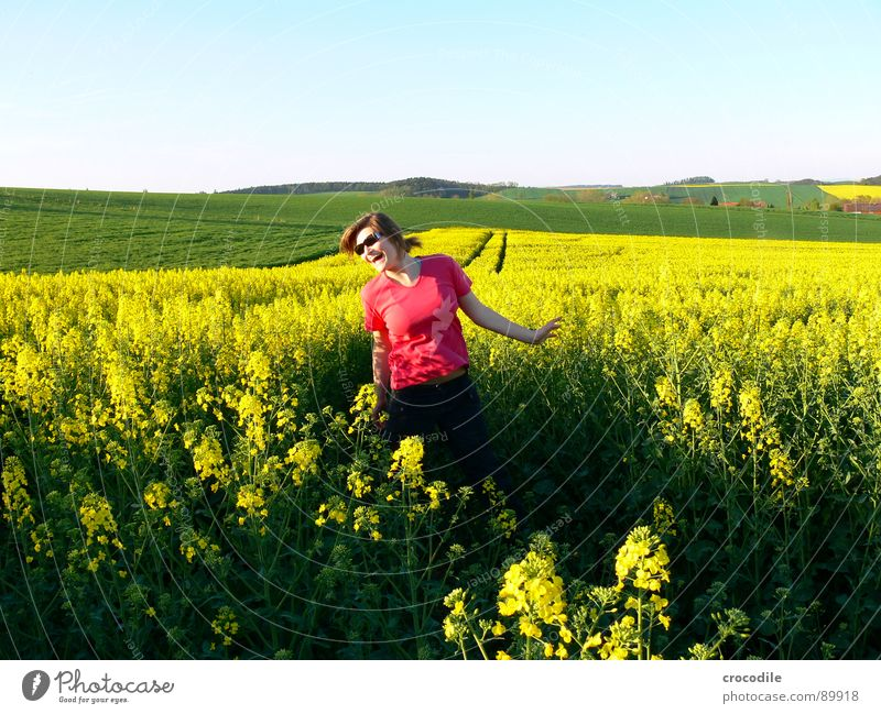 Woman Sky Joy Landscape Yellow Meadow Spring Freedom Small Jump Field Leisure and hobbies Sweet Stripe Beautiful weather Hill