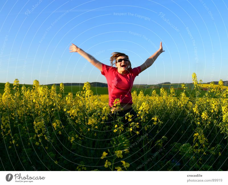 Woman Sky Joy Landscape Yellow Meadow Spring Freedom Small Happy Jump Field Leisure and hobbies Happiness Sweet Stripe
