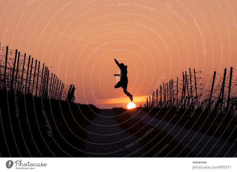 sun jump Lifestyle Joy Vacation & Travel Far-off places Freedom Sun Hiking Human being Young man Youth (Young adults) Man Adults Body 1 Nature Landscape Sky