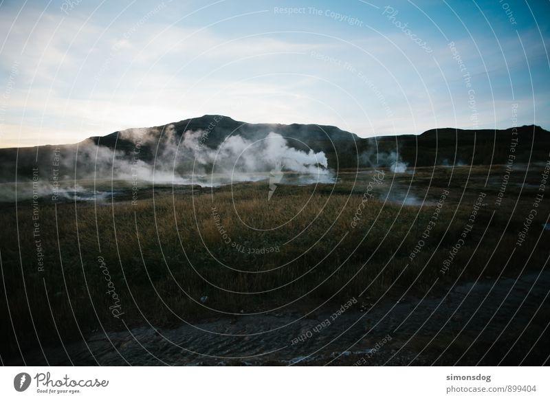 Sky Nature Vacation & Travel Landscape Clouds Grass Idyll Hill Smoke Iceland Steam Geyser Geyser bassin