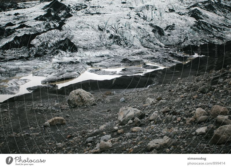 Nature Water Cold Stone Rock Ice Idyll Elements Frost Iceland Climate change Gravel Glacier Glacier ice