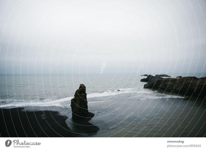 Vacation & Travel Water Ocean Landscape Clouds Beach Black Coast Rock Horizon Idyll Waves Elements Iceland Sandy beach Surf