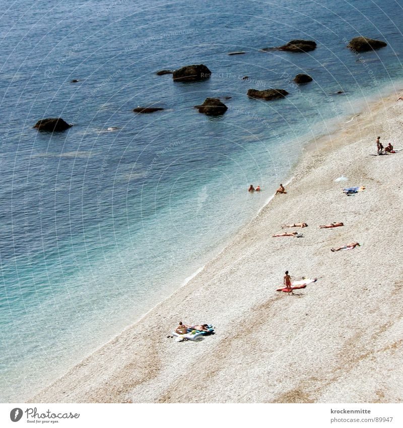 A day at the sea Beach France Vacation & Travel Gravel Tourist Bather Bath towel Ocean Waves Sunbathing Calm Bird's-eye view Aerial photograph Reef