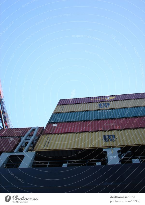 Container load 2 Cargo-ship Watercraft Accident Transport Logistics Stack Shipping Iron Fraud Turnover Trade Goods Store premises Unload Load White Crane