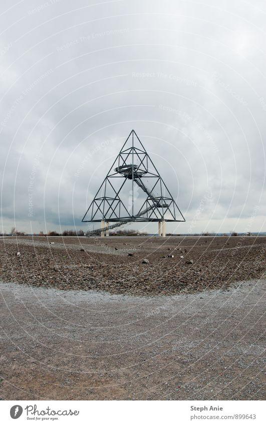 tetrahedra Art Sculpture Architecture Slagheap Bottrop Tourist Attraction Esthetic Modern Industrial heritage Subdued colour Exterior shot