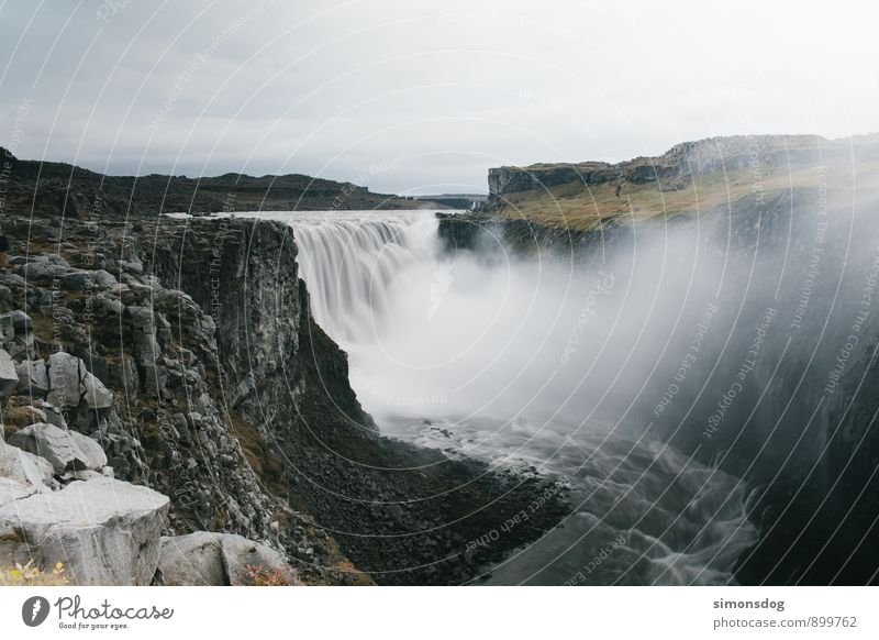I'm in Iceland. Nature Landscape Water Clouds Autumn Bad weather River Waterfall Might Vacation & Travel Canyon Rock Large White crest To fall Flow Colour photo