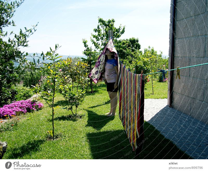At home Home Blanket Woman Playing Clothing Heat Warmth Infancy Garden Field Joy Ingenuity Stripe Tree green grass Madness tenderness Light Serene Peace Fresh