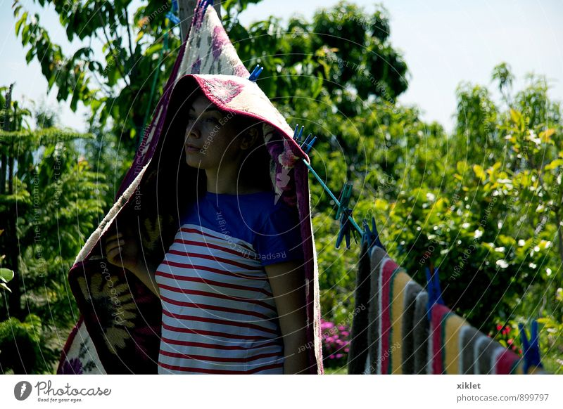 at home Home Blanket Woman Playing Clothing Dry Heat Warmth Infancy Garden Field Joy Ingenuity Stripe Tree Grass green Madness tenderness Light Serene Peace