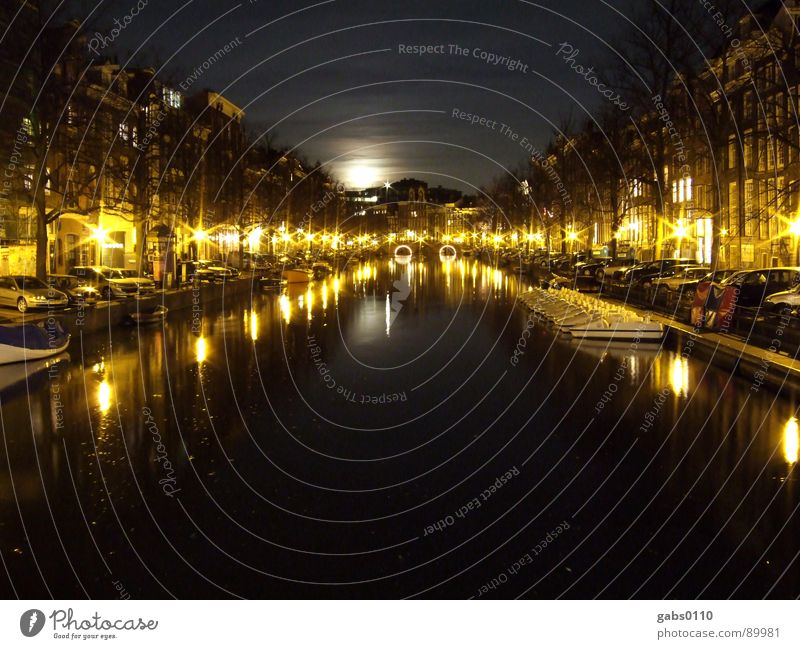 Night in Amsterdam Watercraft Dark Light Lantern Bridge Moon River Sewer