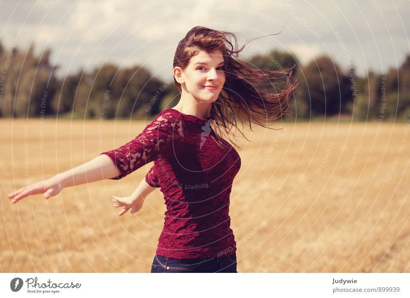 With the wind Joy Happy Beautiful Summer Sun Sports Fitness Sports Training Human being Feminine Young woman Youth (Young adults) Adults 18 - 30 years