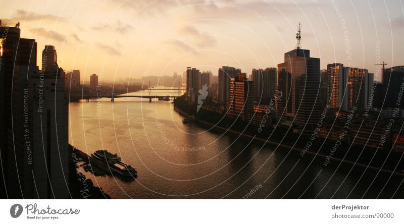 Sky Blue Clouds Watercraft Moody Gold High-rise Time Bridge River Asia China Antenna Shanghai