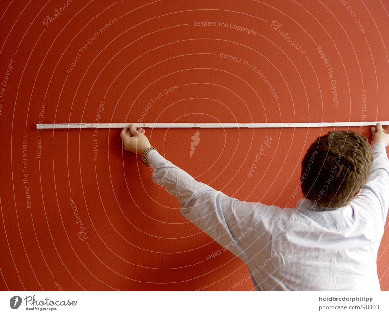 Man White Red Colour Wall (building) Line Measure Tape measure