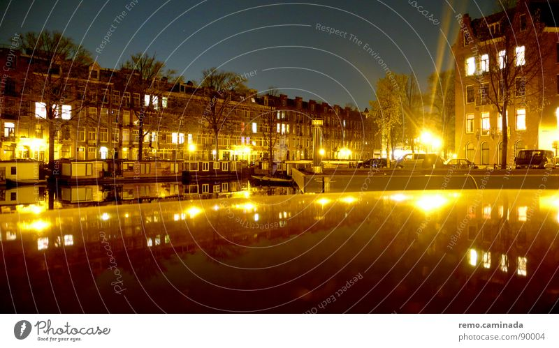 See remark Night Light Reflection Long exposure Amsterdam Town Fantastic 2 Dark Moody Romance Calm Window Flat (apartment) Architecture Sky Water