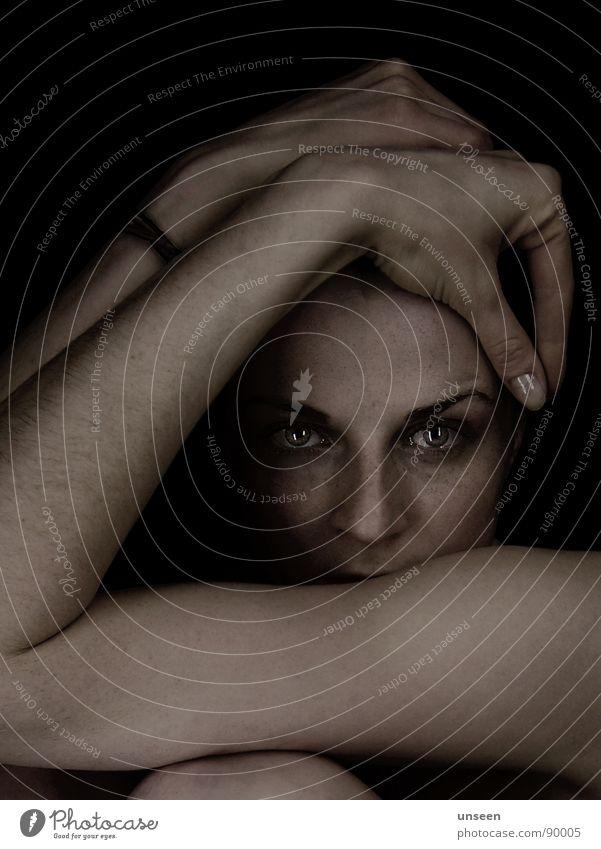 Woman Hand Face Eyes Dark Skin Closed Near Dimension