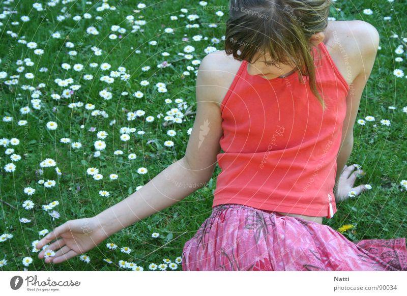 Child Flower Green Summer Joy Meadow Warmth Physics Flower meadow