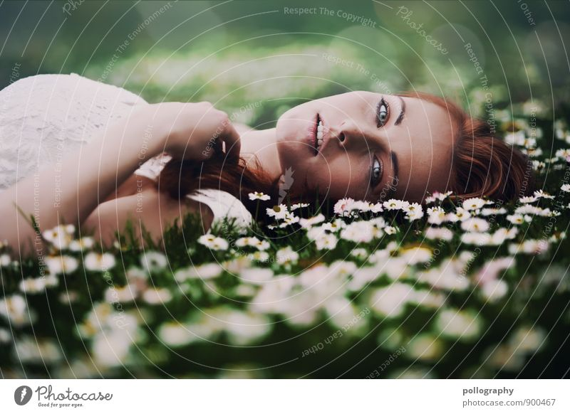 Human being Woman Nature Youth (Young adults) Plant Beautiful Summer Young woman 18 - 30 years Adults Life Emotions Love Feminine Grass Moody