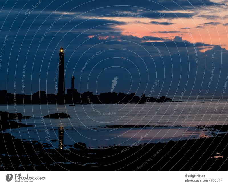 wanderlust Vacation & Travel Far-off places Summer Beach Ocean Night life Brittany Finistere Tower Lighthouse Navigation Beacon Illuminate Threat Dark Bright