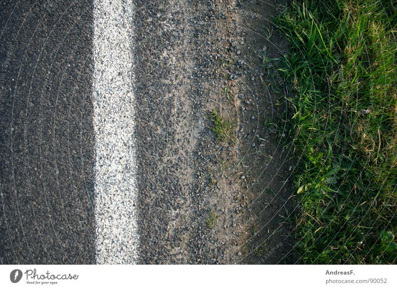 street art Traffic lane Roadside Asphalt Gray Lane markings Curb Water ditch Grass Traffic infrastructure Earth Sand Street Signs and labeling grass verge Dirty