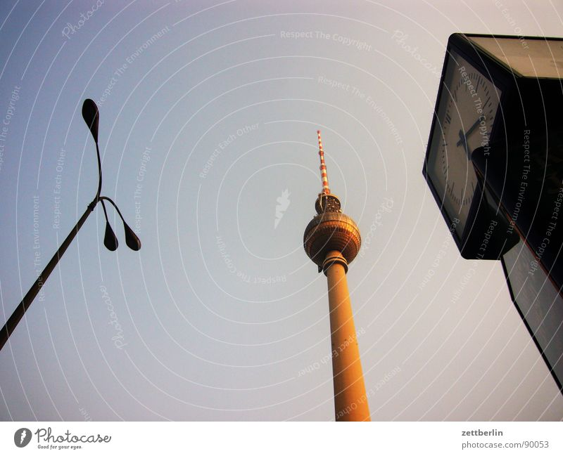 Lamp Berlin Lighting Perspective Clock Middle Lantern Monument GDR Landmark Go up Berlin TV Tower Steep Alexanderplatz Public clock