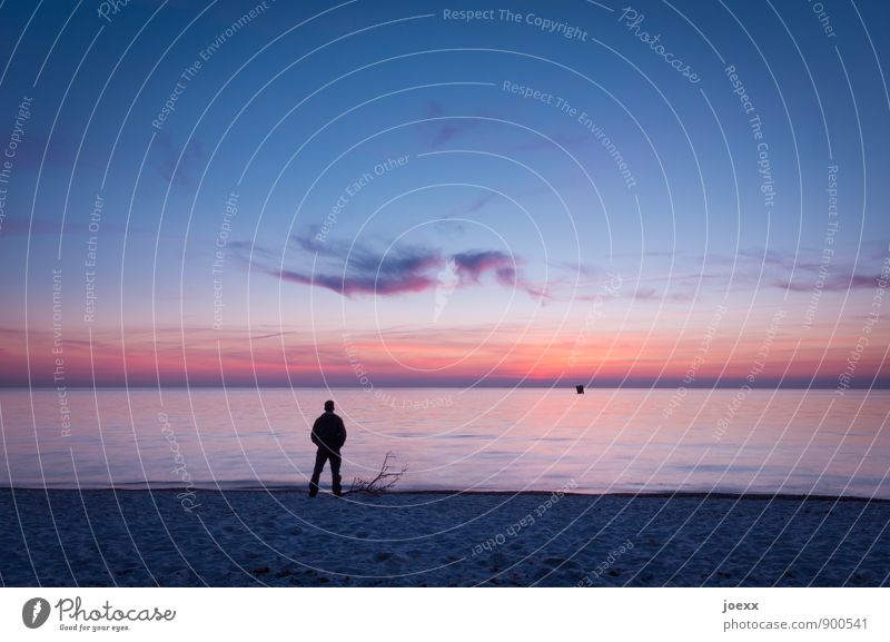 One Man Show Masculine Adults 1 Human being Landscape Water Sky Horizon Beautiful weather Coast Beach Ocean Observe Stand Colour photo Exterior shot