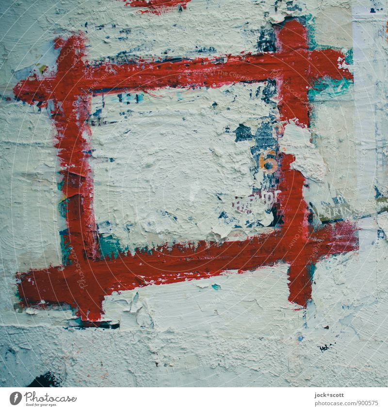Framework condition for the group feeling Subculture Street art Rectangle Decoration Sign Line Sharp-edged Simple Red Idea Creativity hatch Breach