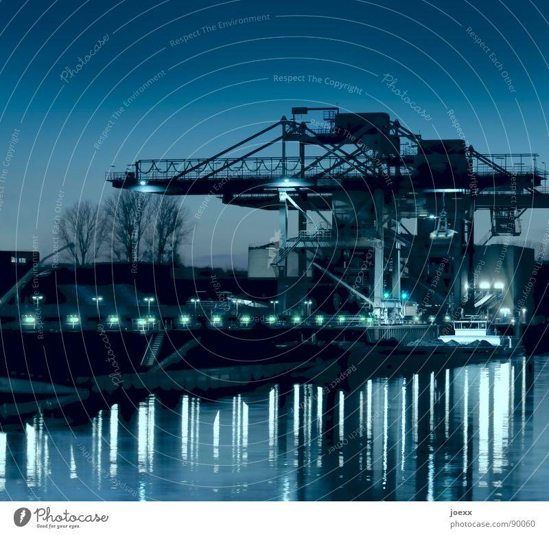 Blue Water Metal Lighting Watercraft Work and employment Industry Duisburg Harbour Navigation Steel Jetty Dusk Weight Crane Iron