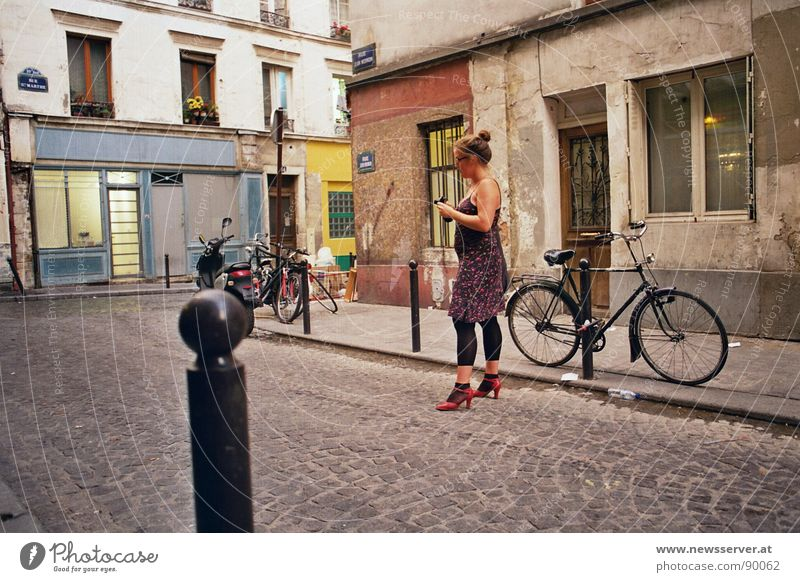Quiet in the Rue Paris Photography Tourism Bicycle Cobblestones Loneliness Calm Street Evening