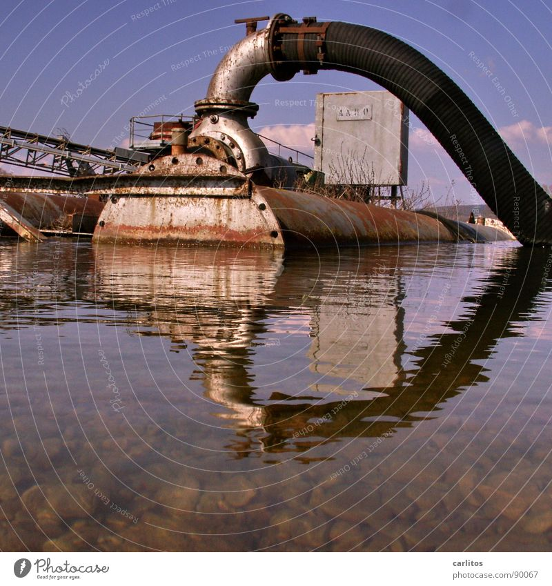 Rust Hose Mirror image Industrial Tank Float in the water To dry up Pump Surface of water Water reflection Pontoon Gravel pit Pumpstation