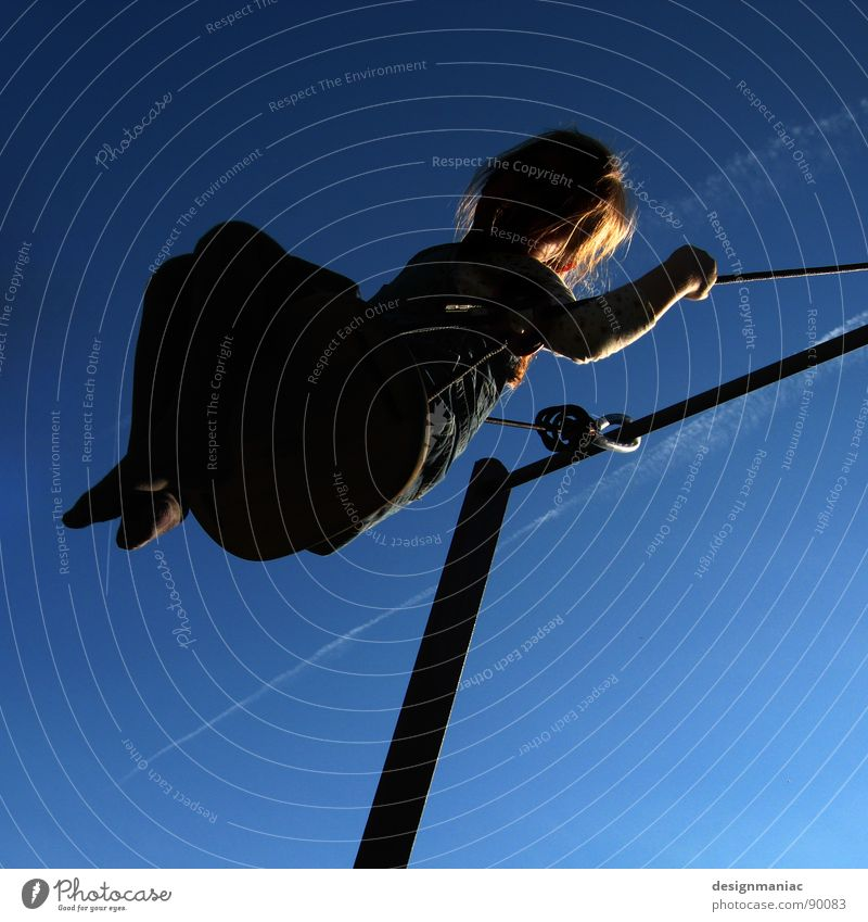 Child Sky Blue Girl Joy Black Above Hair and hairstyles Blonde Flying Rope Crazy Dress To hold on Beautiful weather Iron-pipe