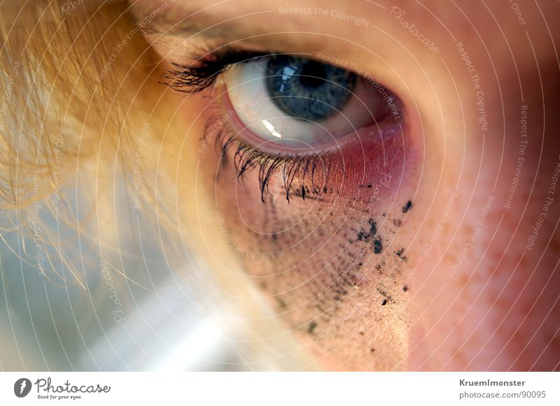 ocean Wearing makeup Eyelash Youth (Young adults) Eyes Blue Looking Hair and hairstyles Nose smudged Daub